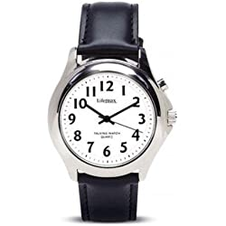 Ladies Talking Watch with Steel Finish - Leather Strap