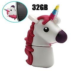 Idea Regalo - Chiavetta USB 2.0 a forma di grazioso unicorno dei cartoni animati, in materiale PVC bianco White 32 Gb