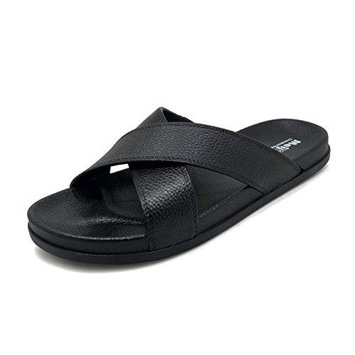 Polliwoo estate sandali della da uomo,infradito unisex adulto moda scarpe (6.5-7 uk/39-40 eu, nero)