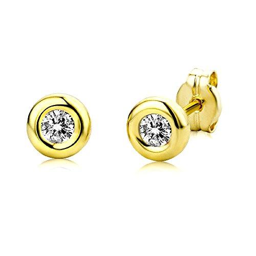 Miore Damen Ohrstecker 9 Karat - Glänzende Ohrringe aus 375 Gelbgold mit 2 farblosen Zirkonia-Steinen - Ohrschmuck klein Ø 5,5 mm