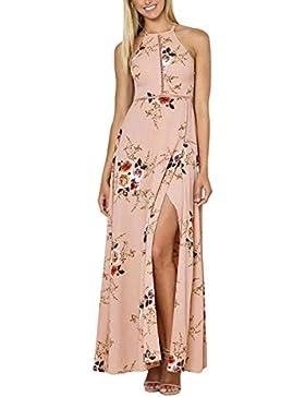 TYHHK Donna senza schienale Stampa floreale senza maniche in collo Estate Vestito lungo da slip da spiaggia