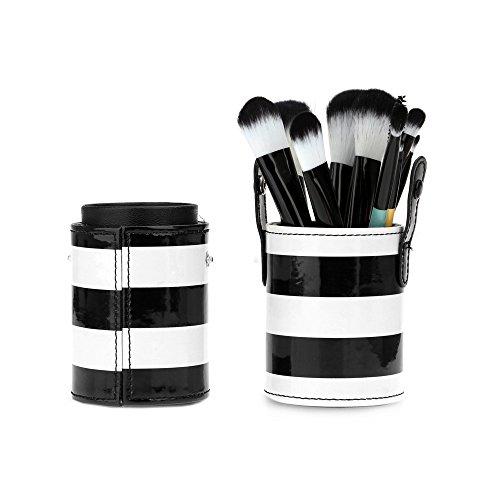 maquillage Brosse - TOOGOO(R)Nouveau 10pcs Poignee en bois Professionnel Colore Pinceau de Maquillage Ensemble Cosmetique Brosse Kit Outil de Maquillage avec Cuir Coupe Support Etui (Blanc + Noir)