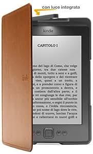 Custodia Amazon in pelle con luce per Kindle, colore: Marrone chiaro (adatta solo per Kindle)