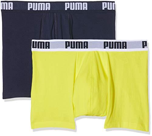 PUMA Basic Boxer 2p Culotte, (Yellow/Navy 926), S (Talla de Fabricante :010) (Pack de 2 para Hombre