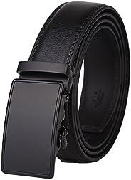 Dante Mens Real Leather Ratchet Dress Belt with Automatic Buckle-Elegant Gift Box(55-0027), Black Style12, Adj