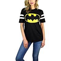Hybrid DC Comics Womens Batman Varsity Football Tee Black (Large, Black)