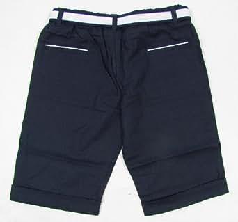 """TUTTO PICCOLO """"Golf"""" Baby Jungen Set aus Bermuda Shorts und Gürtel Marine Leinen (Blau/Weiß) 102cm / 48 Months / Größe 104"""