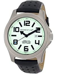 Momentum Cobalt Lite - Reloj analógico de caballero de cuarzo con correa de piel negra - sumergible a 100 metros