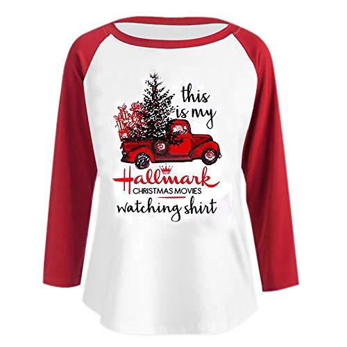 Dorical Damen Weihnachtspullover Herbst Winter Schwarz Lang Pullover Christmas Kuschelpulli Leichter Pullover Hochwertige Schicke Trend Weihnachts T-Shirt Sale (Small, Z001-Rot)