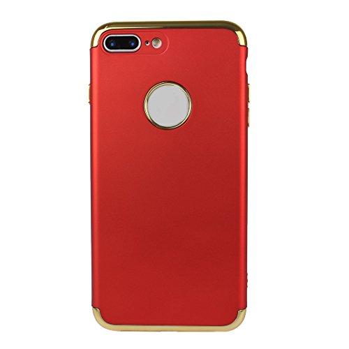 iPhone 7 Plus Hartschale, iPhone 7 Plus 3 in 1 Hülle, iPhone 7 Plus Full Body Case, Moon mood® 3 in 1 Anti-Fingerprint Kratzfeste Kunststoff Harte Rückseite Case Bumper Schutzhülle für Apple iPhone 7  Rot