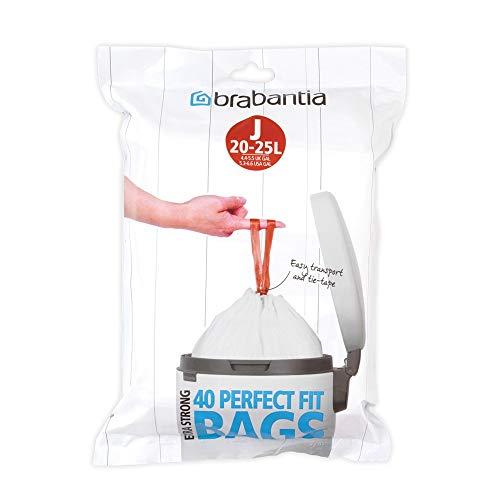 Brabantia Spenderpackung PerfectFit Müllbeutel Code J, 23 L, 30 Stück, Plastik, Weiß, 23 Liter