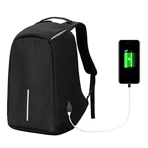 Fastar Business Laptop Rucksack mit USB-Ladeanschluss, Diebstahlsicherer Großer Kapazität Reise Rucksack Schule Schultasche für Notebook Computer, Business, Reisen, Arbeit, schwarz