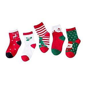 Amosfun 5 Paare Kinder Kinder socken Baumwolle Cartoon Weihnachten socken für 1-3 Jahre alt (Weihnachten gemischt)