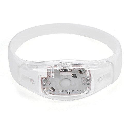 GLOGLOW LED-Armband, 8 Farben Flash-LED-Licht Party Konzert Show Silikon Armband Armreif Armband(Weiß)