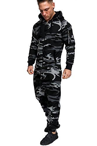 Amaci&Sons Herren Overall Jumpsuit Jogging Cargo-Style Onesie Trainingsanzug Camouflage 3006 Camouflage Schwarz L