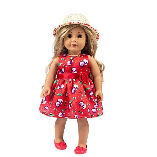 Puppenkleidung , YUYOUG Niedliche Bedruckte Kleid Party Rock + Hut für 18 Zoll unsere Generation American Girl Puppe Zubehör Mädchen Spielzeug Weihnachten Geburtstagsgeschenk (rot)