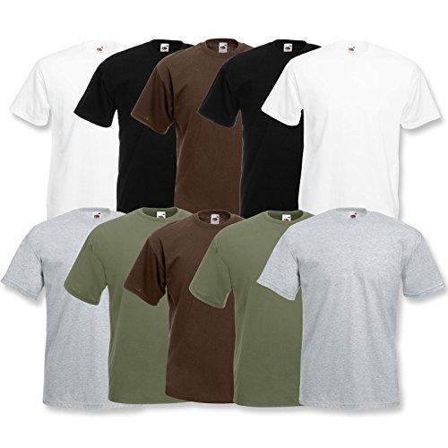 Fruit of the Loom 10 T Shirts Valueweight T Rundhals S M L XL XXL 3XL 4XL 5XL Übergröße Diverse Farbsets auswählbar (L, 2 Weiß/2 Grau/2 Schwarz/2 Olive/2 Schoko) -