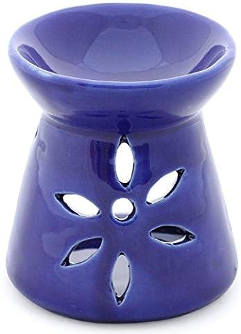 lightning deals of the day - SouvNear 8.9 cm Aroma Lamp Warmer Oil Burner - Diffuser Essential Aromatherapy & Fragrance Ceramic Tea light Holder - Handmade Blue Votive Candle Holders