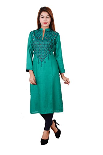 PINKY PARI COTTON EMBROIDERED STRAIGHT FIT GREEN KURTI