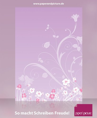 Blumenranken LILA, 20 Blatt Motivpapier 100g/qm und 20 passende Motivumschläge DIN LANG, ideal fŸr...