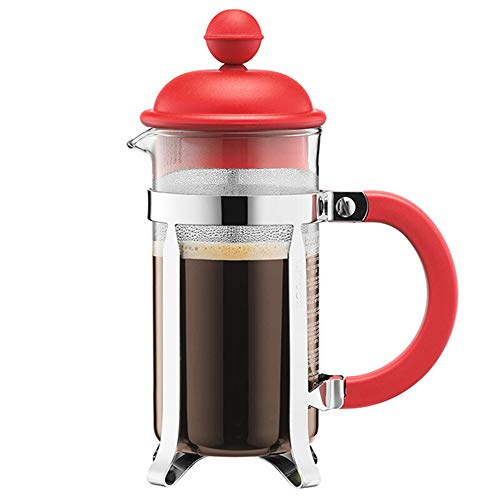 Jenify French Press Coffee Maker Glass 12 oz, 35 Liter (3 Cup) | Double Walled Isolierte Kaffee & Tea Brewer Pot & Maker |,Red -
