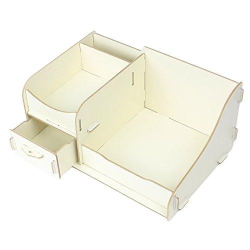 DealMux Wooden Cosmetic Makeup DIY Desktop Storage Box Case Organizer Beige