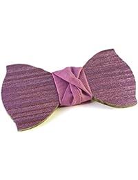 GIGETTO Papillon in legno spazzolato,con nodo in tessuto lilla, cinturino regolabile