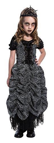 GIRLS BLACK SPIDER COFFIN PRINCESS HALLOWEEN FANCY DRESS COSTUME