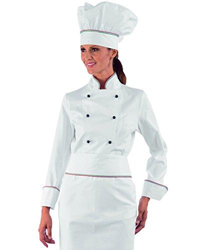 Isacco - Veste Femme Chef Cuisinier Italy 100% Coton Blanc Noir