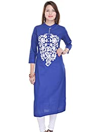 Crazora Women's Blue Embroidery Cotton Kurti