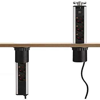dazone 3 fach steckdose versenkbar steckdosen turm 2 fach usb 2m kabel komplett in. Black Bedroom Furniture Sets. Home Design Ideas