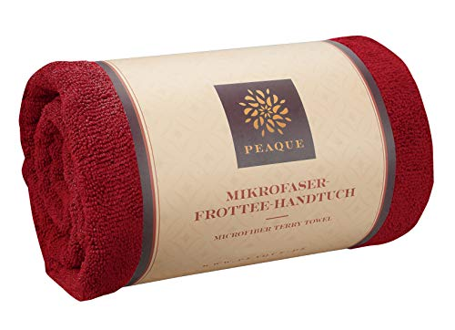PEAQUE Microfaser-Handtuch Frottee XL, Sauna-Tuch, Bade-Tuch, Reise-Handtuch (Red, Weinrot, Rot, 80 x 160 cm)