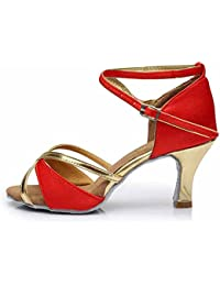 HROYL Zapatos de baile/Zapatos latinos de satén mujeres ES-805