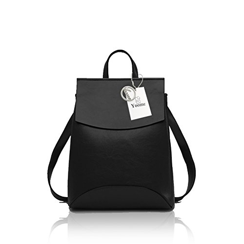 Yoome Vintage Soft Leder Rucksack Schultertasche Campus Bookbag für Frauen Schwarz