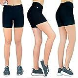 Damen Shorts Laufen Kurze Leggins [innovativer Hüfttasche für Handy] Sporthose Freizeithose Radlerhose | Fitness Sport Running Tights Stretch Yoga Jogging hoher Bund high Waist schwarz M