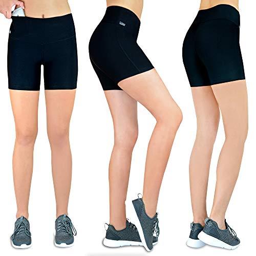 Damen Shorts Laufen Kurze Leggins [innovativer Hüfttasche für Handy] Sporthose Freizeithose Radlerhose | Fitness Sport Running Tights Stretch Yoga Jogging hoher Bund high Waist schwarz S