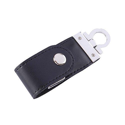 ESCOO Luxus Leder Optik Schlüsselanhänger 16gb Usb Stick sehr schönes Praktisches Geschenk (Black)