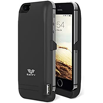 SAVFY iPhone SE 5S 5 Akku Hülle 4200mAh Power Bank iPhone SE 5S 5 Externe Batterie Backup Case, Schwarz