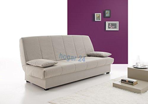HOGAR24 Sofa Cama Clic CLAC con ARCÓN DE ALMACENAJE Gris