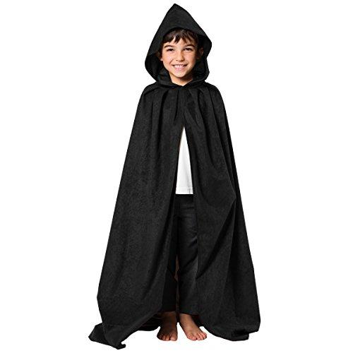 Unbekannt Charlie Crow Schwarzer Umhang mit Kapuze - Einheitsgröße 7-9 - Gute Hexe Kind Kostüm