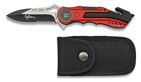 ALBAINOX 19626AGR1007. Couteau pliant rouge avec scie NAVY SEALS. Ouverture