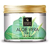 Good Vibes Aloe Vera Gel - 300 g - Hydrates Hair and Skin- Prevents Dark Spots, Acne and Dandruff - Ideal for Oily Skin and Dry Brittle Hair - Cruelty Free