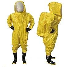 Pesado tipo completamente cerrada traje de protección contra químicos amarillo con respirador bolsa (XXL)