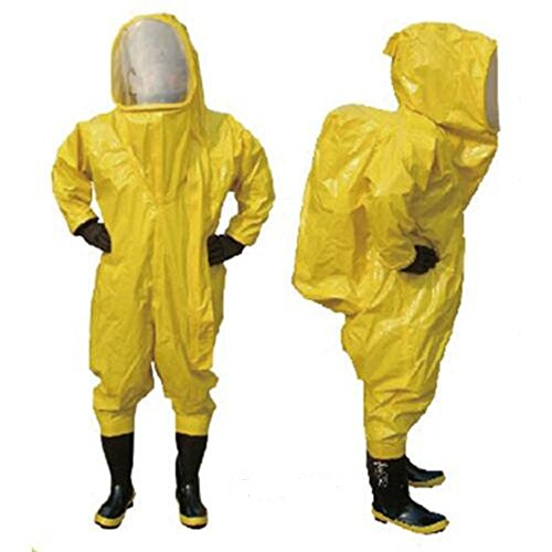 Hazmat Breaking Bad Kostüm - Schwere Typ vollständig geschlossener chemischen Schutzanzug gelb mit Atemschutzmaske Tasche (L)