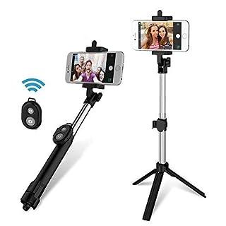 Anggo kabelloser Bluetooth Selfie-Stick, ausziehbar, mit Fernbedienung und integriertem Stativ für Reisen, Heim-Videos - kompatibel mit iPhone, Samsung, Android Handys