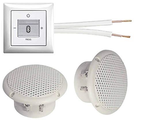 Busch Jäger Unterputz Bluetooth-Radio Unterputz Radio 8217 U (8217U) alpinweiß Komplett-Set Balance SI + 2 x Deckenlautsprecher (Feuchtraum/Badezimmer) Einbaulautsprecher + Radioeinheit + Bedienelement + Rahmen + 20 m Lautsprecherkabel