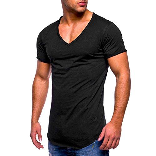 Elecenty t-shirt camicie a maniche corte da uomo in cotone a manica corta da uomo a manica corta slim fit con scollo a v (size:m, blu navy)