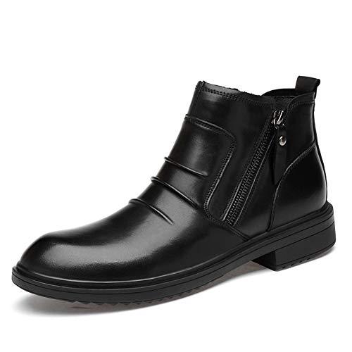 Scarpe da uomo 2019 Oxfords Stivali da combattimento for moto da uomo High Top for uomo Scarpe alla caviglia Doppie cerniere laterali In pelle antirughe Calore antiscivolo Classico moderno (pile int