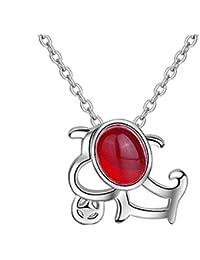 10e95489f2c6 Purmy Mujer Collar Plateado Colgante Rojo Agate Perro Modelo Ahuecado Forma  Diseño Dulce Estilo Plata 45X45X1