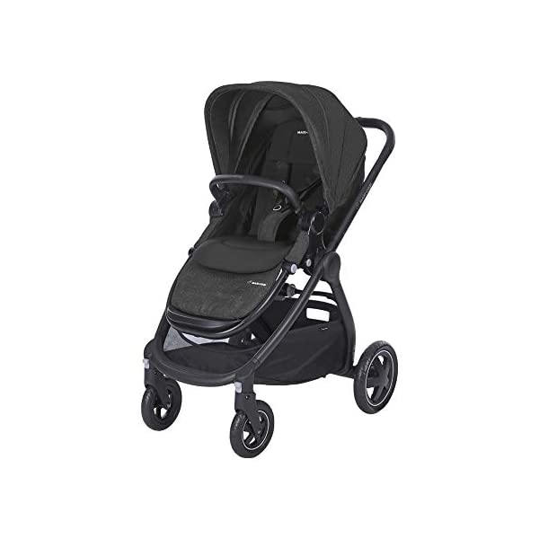 Maxi-Cosi Adorra Baby Pushchair, Comfortable and Lightweight Stroller with Huge Shopping Basket, Suitable from Birth, 0 Months - 3.5 Years, 0-15 kg, Nomad Black Maxi-Cosi Urban stroller, suitable from birth to 15 kg (birth to 3.5 years) Cocooning Seat: The luxury of a large padded seat for the extra comfort of your little one A lightweight stroller less than 12 kg that makes walking effortless 1